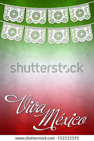 Viva mexico poster - mexican paper decoration - stock photo