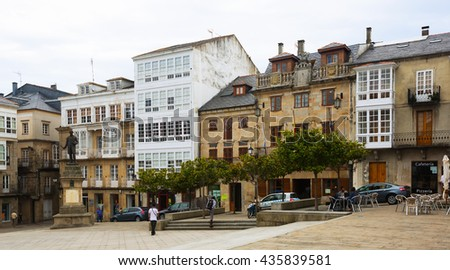VIVEIRO, SPAIN - JULY 1, 2015: Traditional galician architecture at city square of Viveiro