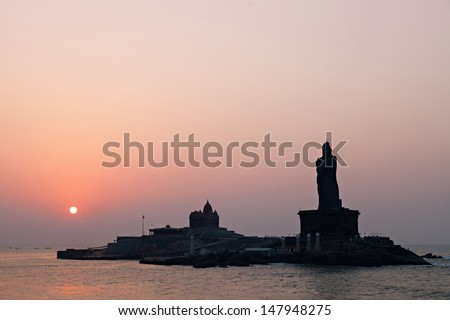 Vivekananda Rock Memorial and Thiruvalluvar Statue at sunrise, India - stock photo