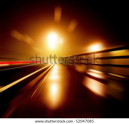 Vivid Abstract Night Street Scene - stock photo