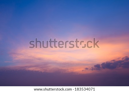Vivid beautiful sunset sky with slightly cloudy - stock photo