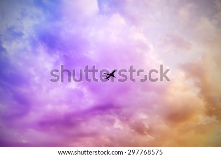 vivid colorful clouds , colorful sky - stock photo