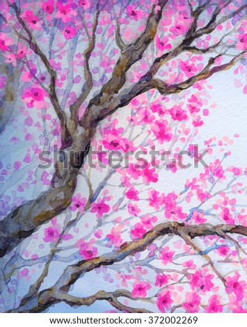 Vivid colorful watercolour on paper backdrop in asian Japan sketch style with space for text on white sky. Lush pink lilac inflorescence on old sprout of seedling in flowery orchard yard - stock photo