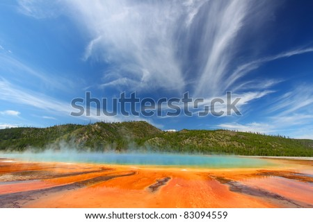 Vivid colors of Grand Prismatic Spring in Yellowstone National Park - USA - stock photo