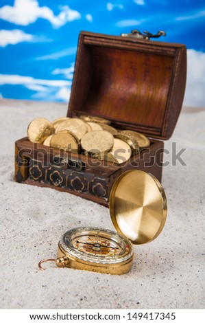 Vivid composition with sand and beach stuff
