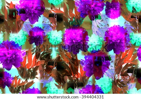 Vivid floral seamless pattern with beautiful flowers ornament on a geometric background. Clip ART - Photo collage. Artwork with layering and blurred effect for floral design. - stock photo