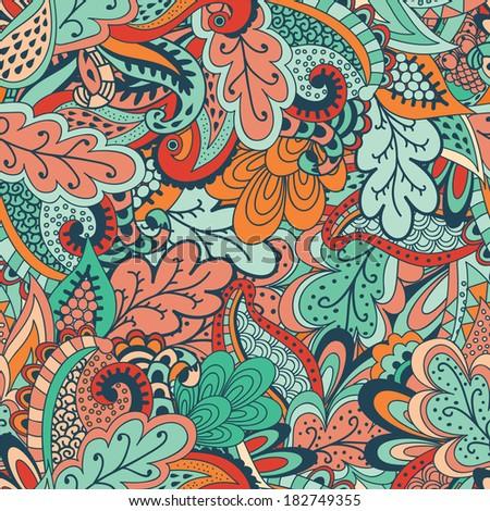 Vivid floral vegetation pattern. Raster illustration - stock photo