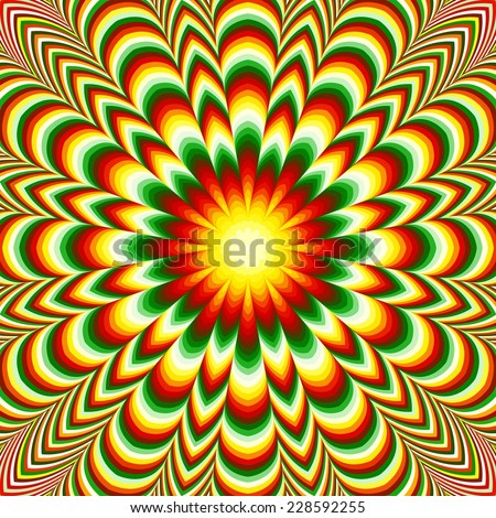 Vivid flower mandala. Colorful floral fractal mandala with the effect of the optical illusion. - stock photo