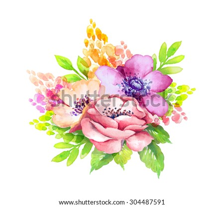 vivid flowers arrangement, watercolor floral illustration, isolated on white background - stock photo