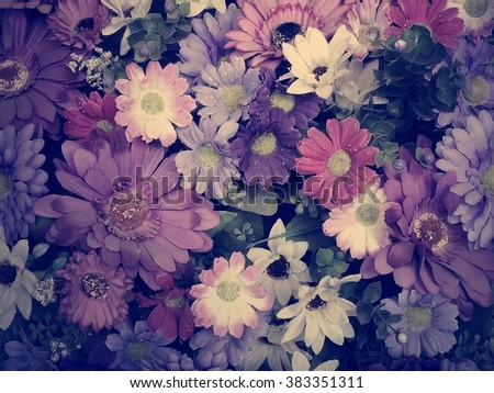 Vivid flowers flat top background Vintage version - stock photo