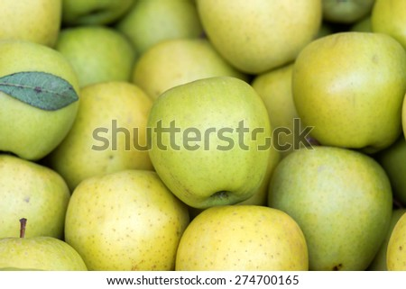 Vivid green fresh organic apples together. - stock photo
