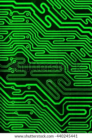vivid green pcb board integrated circuit motherboard computer parts abstract background - stock photo