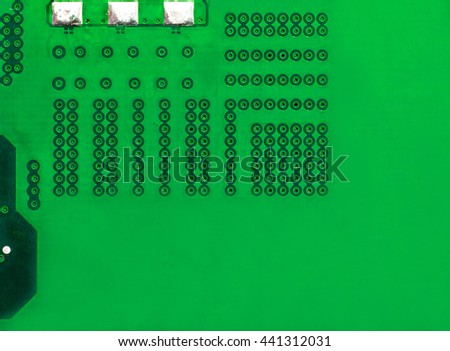 vivid green pcb motherboard chip microchip integrated circuit board pattern background - stock photo