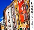 vivid houses of Cuenca town, Spain - stock photo