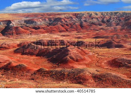 Vivid image of the Painted Desert National Park in Arizona - stock photo
