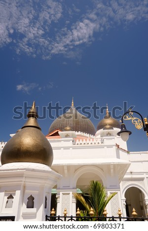 Vivid mosque, Islam religious buildings in day in Penang, Malaysia, Asia. - stock photo