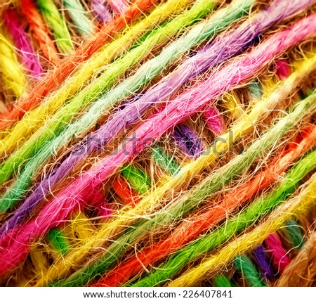 vivid multicolored thread in clew close up picture - stock photo