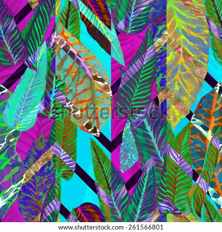 vivid pattern floral ornament, tropical foliage seamless pattern, leaves, leaf in a dark tropical plants, colorful watercolor foliage on a zigzag background. Overlapping effect, Art Deco design - stock photo