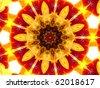 Vivid Red and Yellow Mandala Flower - stock photo