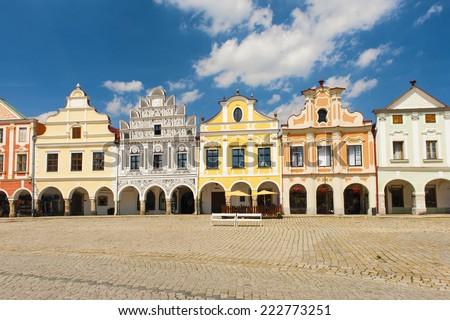 Vivid Renaissance houses in Telc, Czech Republic - UNESCO world heritage site - stock photo