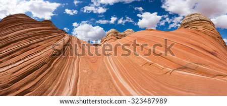 Vivid sandstone formation in Coyote Buttes North. These formations could be seen in Paria Canyon-Vermilion Cliffs Wilderness between the towns of Kanab, Utah and Page, Arizona. USA. Panorama