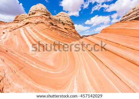 Vivid sandstone formation in Coyote Buttes North. These formations could be seen in Paria Canyon-Vermilion Cliffs Wilderness between the towns of Kanab, Utah and Page, Arizona. USA - stock photo