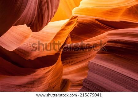 Vivid sandstone texture in Antelope canyon, Page, Arizona. - stock photo