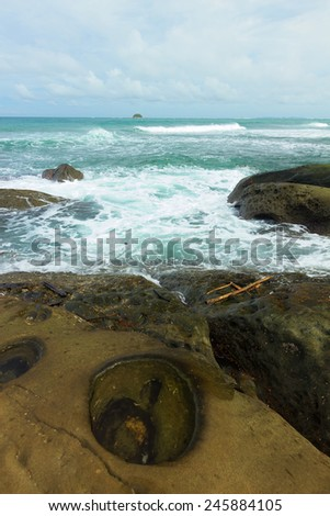Vivid Seascape on sunny day - stock photo