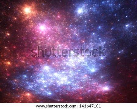 Vivid starry background (fractal render) - stock photo