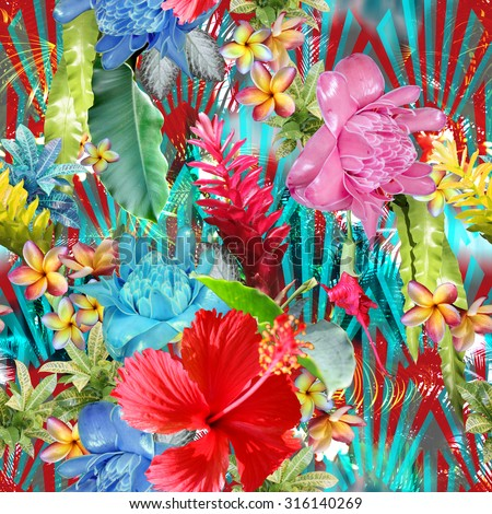 Vivid tropical pattern with colorful exotic flowers hibiscus, plumeria, frangipani, banana lifs, palm leaf, and tropical plants on an art deco backdrop. Floral design - Photo collage  - stock photo