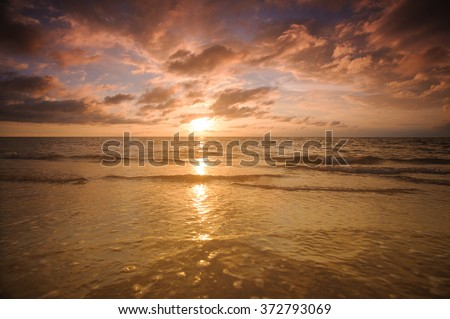 Vivid tropical sunset over the Andaman sea - stock photo