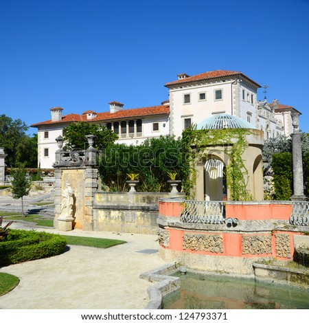 Vizcaya, Florida's grandest residence, once belongs to millionaire industrialist James Deering, is in downtown Miami, Florida, USA. - stock photo