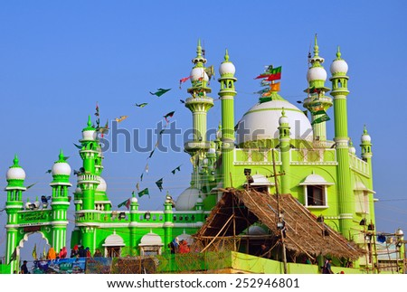 VIZHINJAM, INDIA  FEBRUARY 1, 2015:  Vizhinjam Juma Masjid is situated at the edge of a cliff overlooking the Arabian Sea. - stock photo
