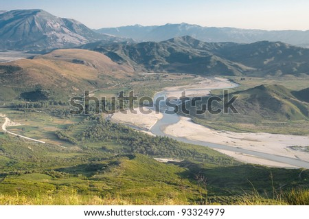 Vjosa River: aerial view of the valley from the ruins of Byllis, Albania - stock photo