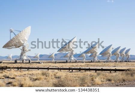 VLA (Very Large Array) - a group of radio telescopes in New Mexico (USA) - stock photo