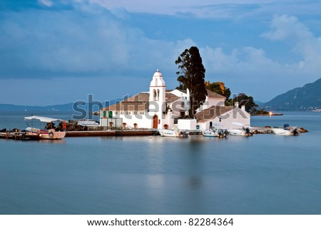 Vlacherna monastery at sunrise, Corfu, Greece - stock photo