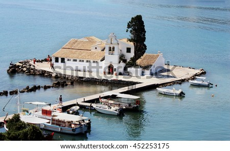 Vlacherna Monastery on island Corfu, Kerkyra, Greece