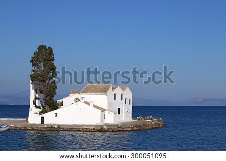 Vlacherna monastery Pontikonisi Corfu island - stock photo
