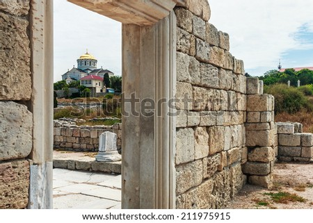 Vladimir Cathedral in Tauric Chersonesos, Sevastopol city, Crimea. focus on the cathedral - stock photo