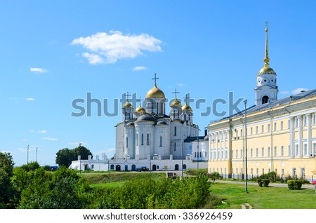 VLADIMIR, RUSSIA - AUGUST 21, 2015: The famous Cathedral of the Assumption, a monument of Russian architecture of the XII century, included in the list of UNESCO World Heritage Sites