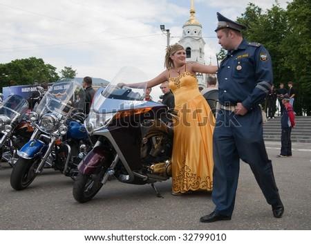 "VLADIMIR, RUSSIA - JUNE 19 : Members of ""Harley-Davidson Club Russia""  participate in International Rally Suzdal 2009 June 19, 2009 in Vladimir, Russia. - stock photo"