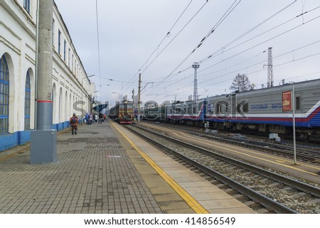 Vladimir, Russia - November 11.2016. The train arrives at  station