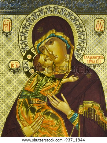 Vladimir Virgin. Orthodox icon. - stock photo
