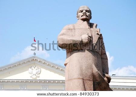 Vladymir Lenin statue, Smolensk, Russia - stock photo