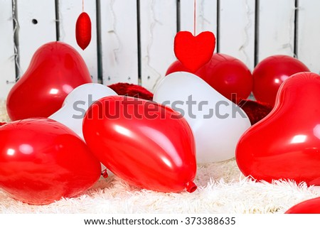 vlentines day background, baloons heart - stock photo