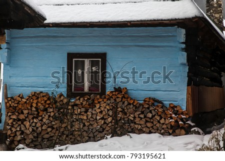 VLKOLINEC, SLOVAKIA - DECEMBER 31, 2017:  A historic building detail from village in Slovakia which is part of the UNESCO World Heritage since 1993.