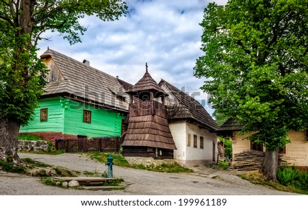 Vlkolinec traditional village in Slovakia, Eastern Europe - stock photo