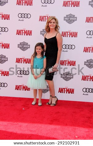 "vLOS ANGELES - JUN 29:  Abby Ryder Fortson, Christie Lynn Smith at the ""Ant-Man"" Los Angeles Premiere at the Dolby Theater on June 29, 2015 in Los Angeles, CA - stock photo"