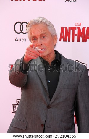 "vLOS ANGELES - JUN 29:  Michael Douglas at the ""Ant-Man"" Los Angeles Premiere at the Dolby Theater on June 29, 2015 in Los Angeles, CA - stock photo"
