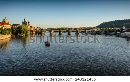 Vltava river and a Charles Bridge in Prague ,Czech Republic - stock photo